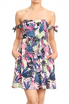 PINK/BLUBERRY/MULTI TROPICAL PRINTED RAYON SMOCKING BACK COLD SHOULDER SHORT DRESS#8DS10-02