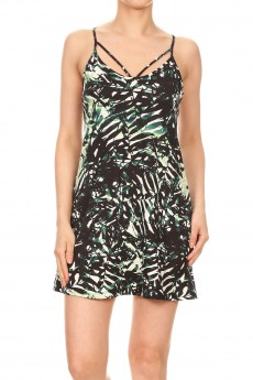 BLACK/WHITE/GREEN TROPICAL PRINT DRESS WITH MULTI STRAP DESIGN#8DS12-02