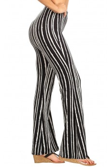 BLACK/WHITE STRIPE PRINT FLARE PANTS#8FP01-1001