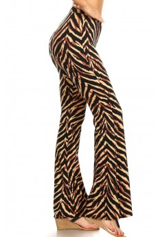 BLACK/BROWN ANIMAL PRINT FLARE PANTS#8FP01-6500