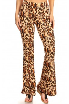 BLACK/BROWN ANIMAL PRINT FLARE PANTS#8FP01-6501