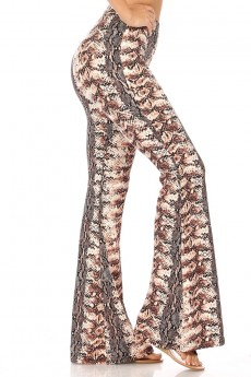 BLACK/BROWN ANIMAL PRINT FLARE PANTS#8FP01-6502
