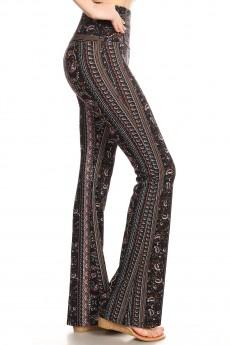 BLACK/BURGUNDY/MUSTARD BOHO PAISLEY PRINT HIGH WAIST FLARE PANTS#8FP06-BH09