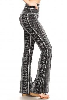 BLACK/WHIET/GREY BOHO PAISLEY PRINT HIGH WAIST FLARE PANTS#8FP06-BH09A