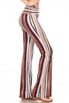 MULTI COLOR STRIPE PRINT HIGH WAIST FLARE PANTS#8FP06-SP20