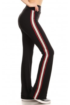 BLACK FLARE PANTS W/ SIDE RED/GOLD METALLIC TAPING #8FP07-02