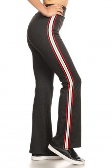 HEATHER CHARCOAL FLARE PANTS W/ SIDE RED/GOLD METALLIC TAPING#8FP07-04