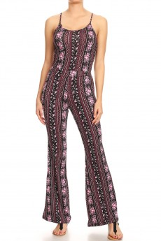 BLACK/PINK BOHO PRINT FLARE JUMPSUIT WITH CAMI TOP#8JPS01-BH01A