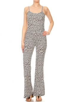 WHITE/BLACK/GREY ANIMAL PRINT FLARE JUMPSUIT WITH CAMI TOP#8JPS01-SK01