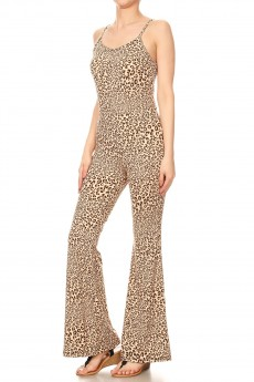TAN/BROWN/BLACK ANIMAL PRINT FLARE JUMPSUIT WITH CAMI TOP#8JPS01-SK01A