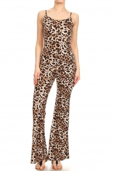 BROWN/WHITE/BLACK ANIMAL PRINT FLARE JUMPSUIT WITH CAMI TOP#8JPS01-SK02