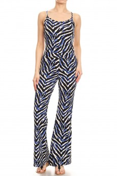 BLACK/BLUE/WHITE ZEBRA PRINT FLARE JUMPSUIT WITH CAMI TOP#8JPS01-SK10A
