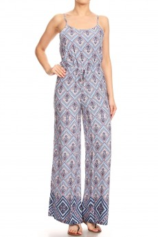 BLUE/PEACH BOHO BORDER PRINT WIDE LEG JUMPSUIT W/ SMOCKING#8JPS12-04