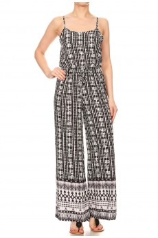 BLACK/WHITE BOHO BORDER PRINT WIDE LEG JUMPSUIT W/ SMOCKING BACK#8JPS12-BD13