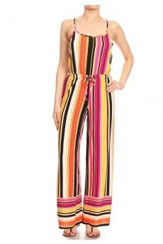 MULTI COLOR STRIPE BORDER PRINT WIDE LEG JUMPSUIT W/ SMOCKING#8JPS12-BD14