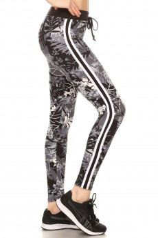 BLACK/WHITE TROPICAL PRINT LEGGING W/ SIDE STRIPED PANELS#8L31-06