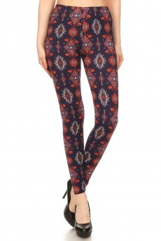 NAVY/RED NAVAJO PRINT BRUSH POLY LEGGING#8L34-06