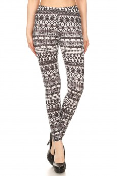 BLACK/WHITE ABSTRACT TIE DYE PRINT BRUSH POLY LEGGING#8L34-07