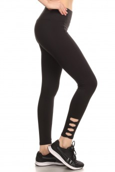 SCULPTING ANKLE LEGGING W/ CRISS CROSS SIDE PANELS#8L35
