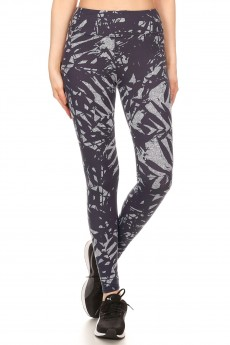 BLACK/WHITE TROPICAL PRINT BRUSH POLY HIGH WAIST LEGGING#8L36-07