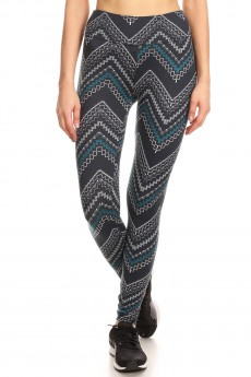 NAVY/MULTI GEO CHEVRON PRINT BRUSH POLY HIGH WAIST LEGGING#8L36-12