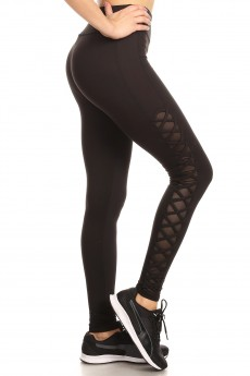 LEGGING W/CONTRAST MESH AND CRISS CROSS SIDE PANEL#8L40