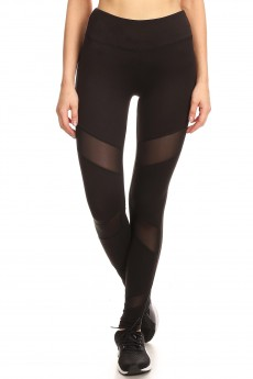 SPORT LEGGING WITH 3 FRONT MESH PANLES#8L41