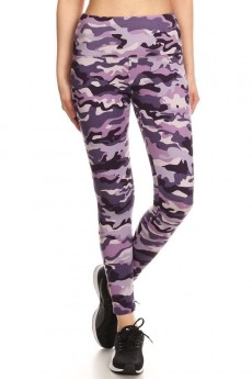 GRAPE/MULTI CAMO PRINT HIGH WAIST FLEECE LINED ANKLE LEGGING#8L76-03