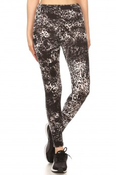 BLACK/WHIET ANIMAL PRINT HIGH WAIST FLEECE LINED ANKLE LEGGING #8L76-04