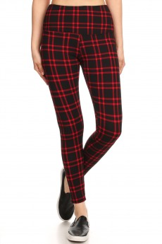 BLACK/RED PLAID PRINT HIGH WAIST FLEECE LINED ANKLE LEGGING #8L76-12