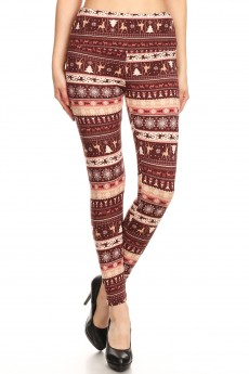 BLACK/BROWN REINDEER PRINT HIGH WAIST FLEECE LINED ANKLE LEGGING #8L76-16