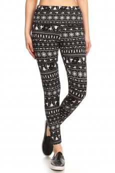 BLACK/WHITE REINDEER PRINT HIGH WAIST FLEECE LINED ANKLE LEGGING #8L76-17