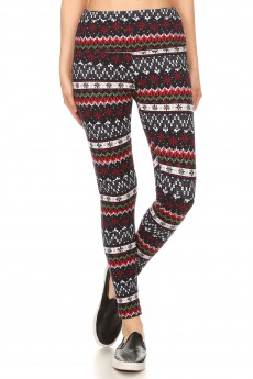 BLACK/RED FAIRISLE PRINT HIGH WAIST FLEECE LINED ANKLE LEGGING#8L76-21