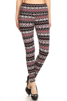 BLACK/GREY FAIRISLE PRINT HIGH WAIST FLEECE LINED ANKLE LEGGING #8L76-28