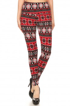 BLACK/RED FAIRISLE PRINT HIGH WAIST FLEECE LINED ANKLE LEGGING#8L76-32