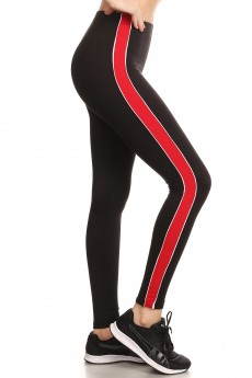 SPORT BRUSH POLY LEGGING W/ CONTRAST SIDE STRIPES#8L99