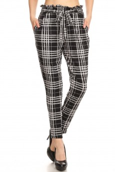 BLACK/GREY PLAID PRINT PAPER BAG WAIST PANTS #8PNT03-01