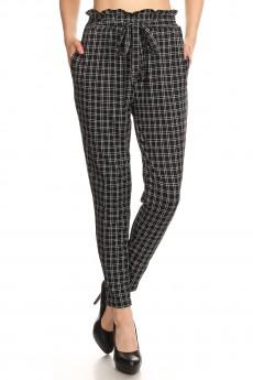 BLACK/WHITE PLAID PRINT PAPER BAG WAIST PANTS#8PNT03-03