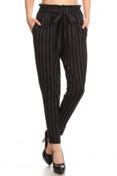 BLACK/GREY STRIPE PRINT PAPER BAG WAIST PANTS #8PNT03-05