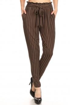 OLIVE/BLACK STRIPE PRINT PAPER BAG WAIST PANTS#8PNT03-16