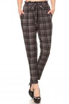 GREY/BLACK/WHITE PLAID PRINT PAPER BAG WAIST PANTS#8PNT03-19