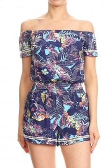 NAVY/MINT/MULTI TROPICAL PRINT OFF SHOULDER ROMPER W/ SMOCKING #8RMP05-01