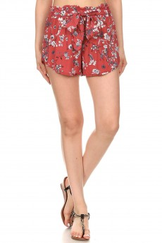 FLORAL PRINT RAYON PAPER BAG WAIST SHORTS WITH SASH #8SH23-03