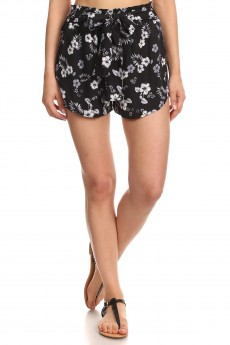 BLACK/GREY/WHITE TROPICAL PRINT PAPER BAG WAIST SHORTS WITH SASH#8SH23-04