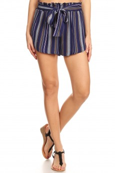 NAVY/PINK/WHITE STRIPE PRINT PAPER BAG WAIST SHORTS W/ SASH#8SH23-SP05A