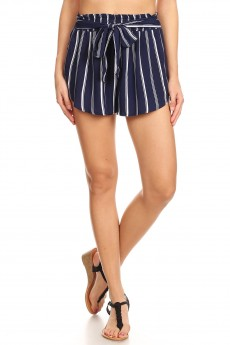 NAVY/WHITE STRIPE PRINT PAPER BAG WAIST SHORTS W/ SASH#8SH23-SP30