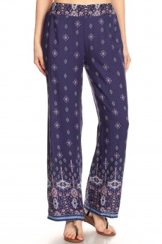 NAVY/COROL BOHO BORDER PRINT STRAIGHT LEG PANTS#8SLP01-07