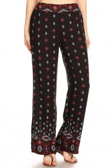 BLACK/WHITE/RED BOHO BORDER PRINT STRAIGHT LEG PANTS#8SLP01-08
