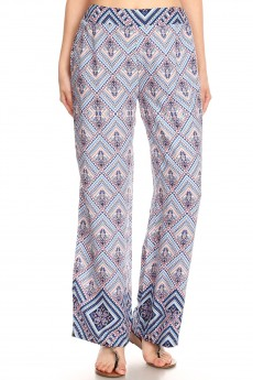 BLUE/PEACH BOHO BORDER PRINT STRAIGHT LEG PANTS#8SLP01-09