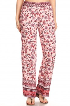 PINK/RED FLORAL BORDER PRINT STRAIGHT LEG PANTS#8SLP01-11